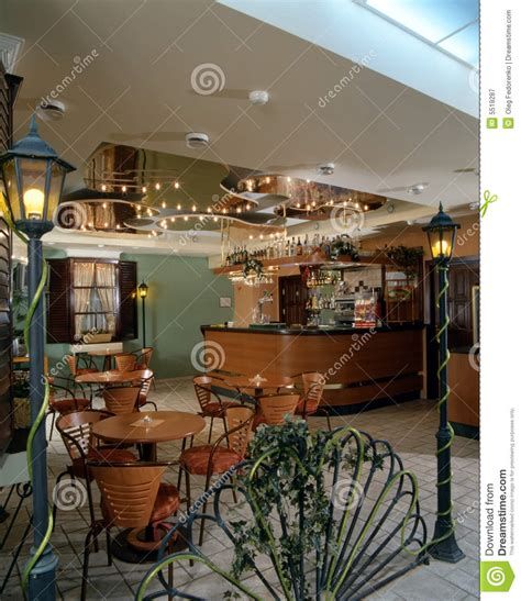 Modern Silverware interior of a cozy cafe royalty free stock photography