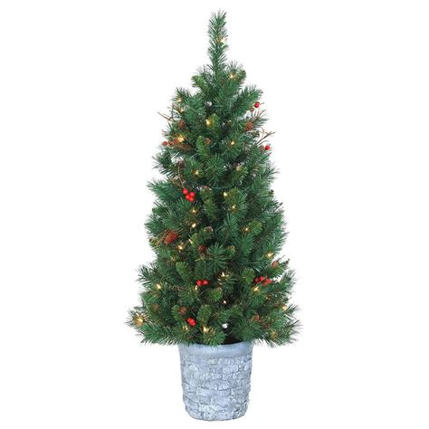 tree in lighted pot sterling 4 ft pre lit mixed needle hazelwood pine artificial tree with clear