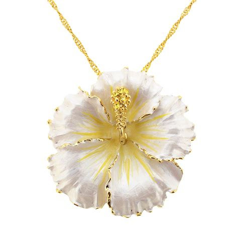 white hawaiian hibiscus flower swarovski brooch