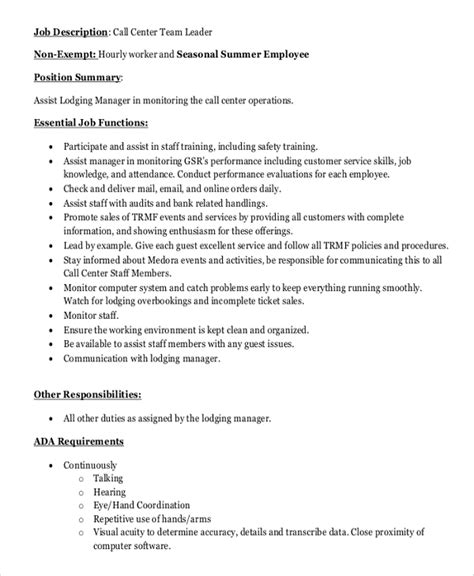 Team Leader Description For Resume by 13 Student Resume Exles High And College Call Center