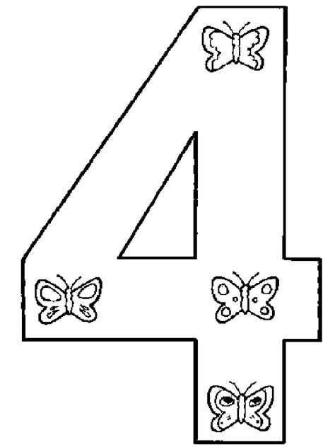Number 4 Coloring Page Printable by 123 Numbers Coloring Pages And Print 123 Numbers