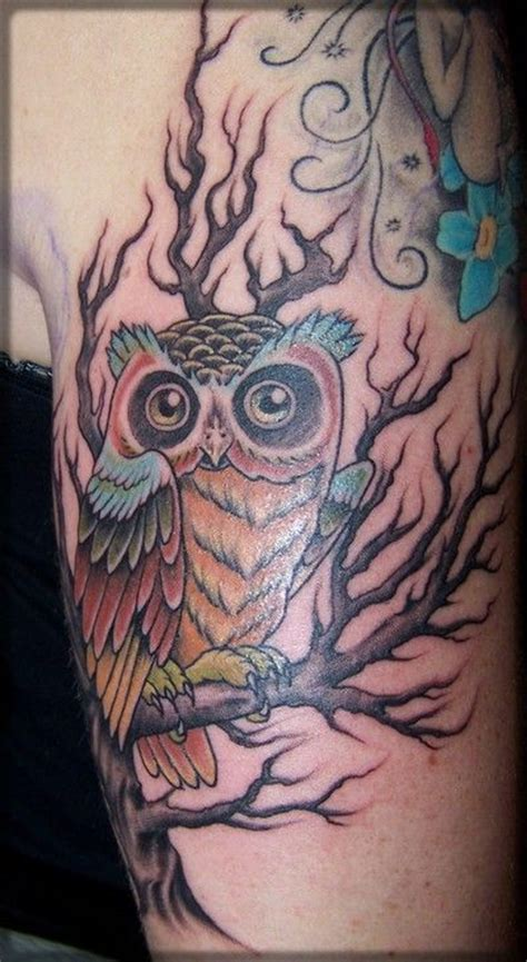 owl tree tattoo designs 45 simple owl tree tattoos golfian