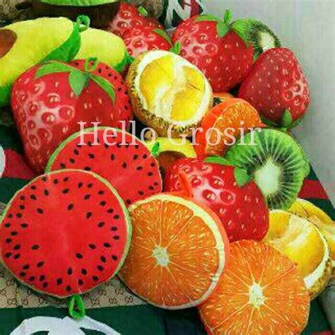 Bantal Boneka Strawberry jual boneka bantal buah asli lucu murah fruit pillow durian strawberry kiwi hello grosir