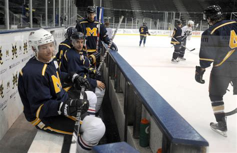 players on the bench michigan hockey summer showcase reunites former players in