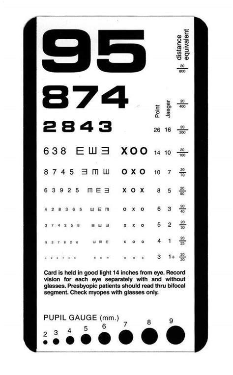 full size printable eye chart snellen plastic eye test chart matte new pocket size ebay