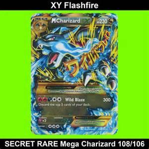 Pokemon mega charizard ex secret rare card 108 106 xy flashfire mint
