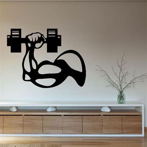 wall vinyl fitness vinyl wall decal bodybuilder man hand dumbbell gym