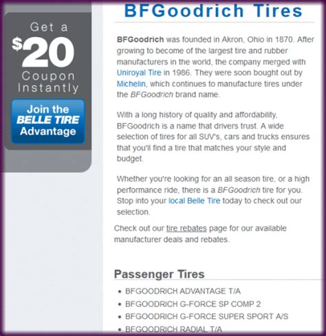 bf goodrich tire coupon bj's