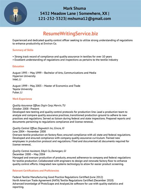 Officer Resume by Quality Officer Resume Sle Resume Writing Service