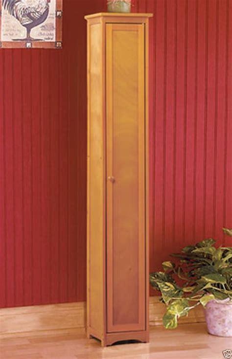 Details about Slim Wooden Storage Cabinet Shelf Shelving