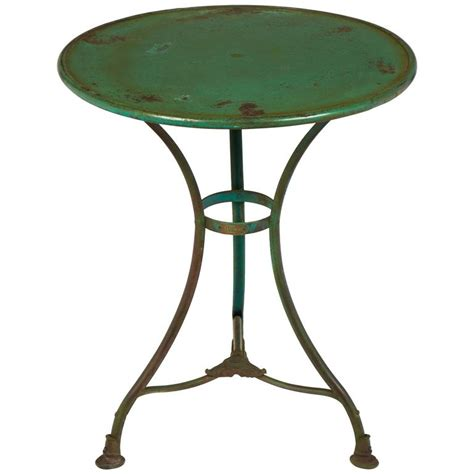 Green Bistro Chairs Green Hammered Iron Bistro Table At 1stdibs