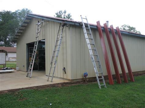 build backyard workshop installing building trim on gable overhang diy backyard