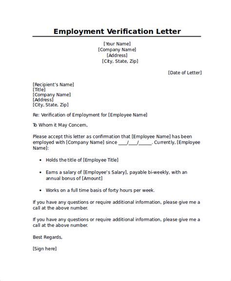 Employment Letter Of Verification Sle Employment Verification Letter 7 Documents In Pdf Word