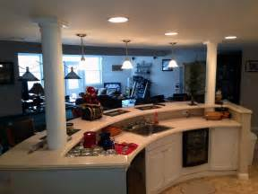 Unfinished Kitchen Island Cabinets Finished Basement Family Room Entertainment Kitchen