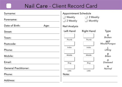 client record cards template nail care client card client record card treatment