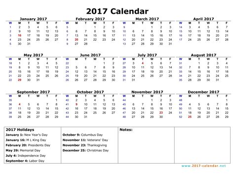 printable calendar by week 2017 printable 2017 calendar