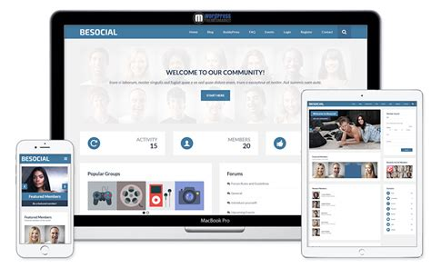 wordpress themes free social network besocial buddypress social network community wordpress theme