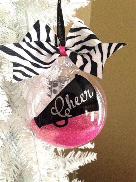 4 inch custom glitter filled cheerleader ornament