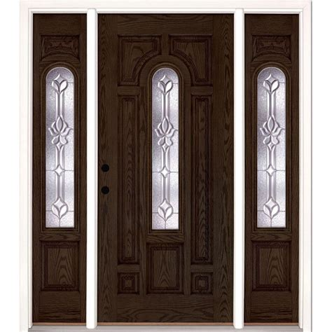 Oak Doors Exterior Feather River Doors 67 5 In X81 625 In Medina Zinc Center Arch Lt Stained Walnut Oak Right