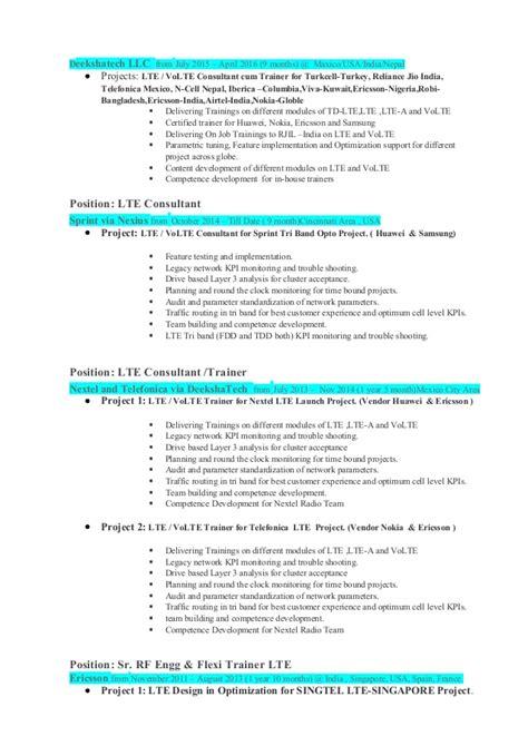 Rf Drive Test Engineer Sle Resume by Rf Optimization Engineer Resume Pmp Rf Engineer Resume Rf Drive Test Engineer Resume Lte