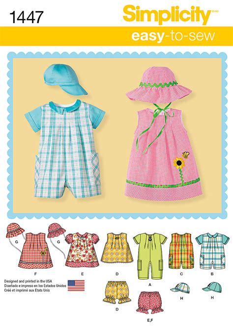 pattern review best patterns 2014 simplicity 1447 babies romper dress top panties and hats
