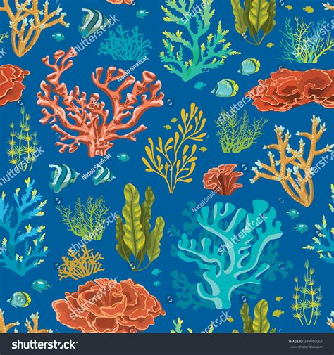 underwater pattern background seamless pattern with coral reef and fish underwater