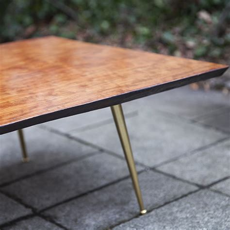 Glamorous Tripod Teak Coffee Table with Brass Legs Nakashima Style   Schlicht Designmöbel