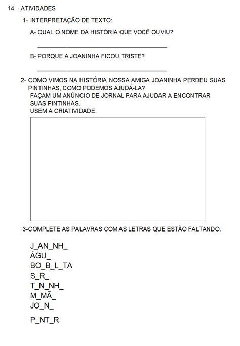 One Cibi Isi 11pc atividades prontas para imprimir sequ 234 ncia did 225 tica atividades a partir do texto a joaninha