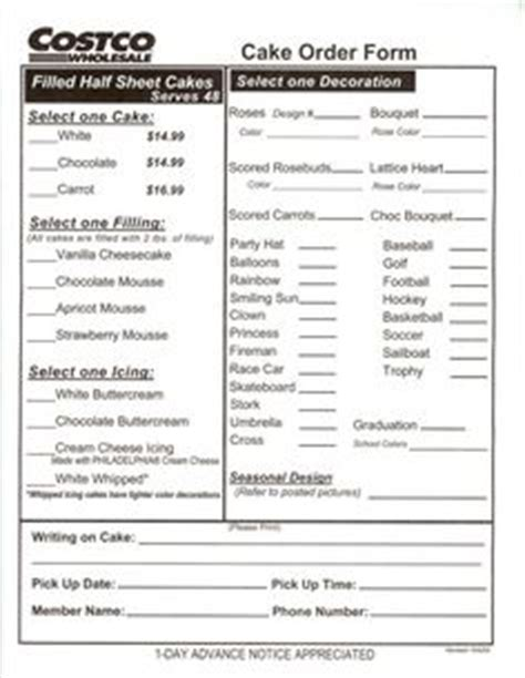 costco cake order form pdf | cake order forms | pinterest