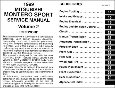 service manual repair manual 2003 mitsubishi montero sport service manual repair manual 2003 1999 mitsubishi montero sport repair shop manual set original