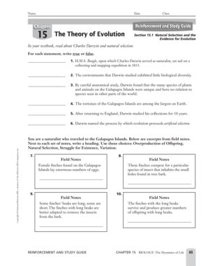 section 3 reinforcement dna chapter 15 the theory of evolution worksheet answers