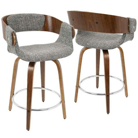Mid Century Modern Furniture Bar Stools by Lumisource Eliza Walnut And Grey Mid Century Modern