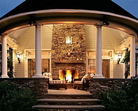 outdoor fireplace on porch favething