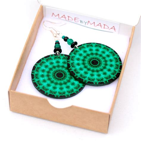 Decoupage Jewelry - fluo emerald green mandala earrings decoupage