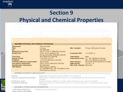 sds section 9 msds sds differences training by penn state university