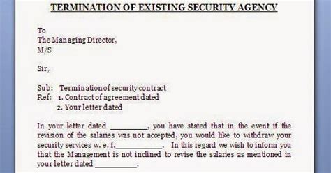 termination letter format for security services every bit of security agency contract termination