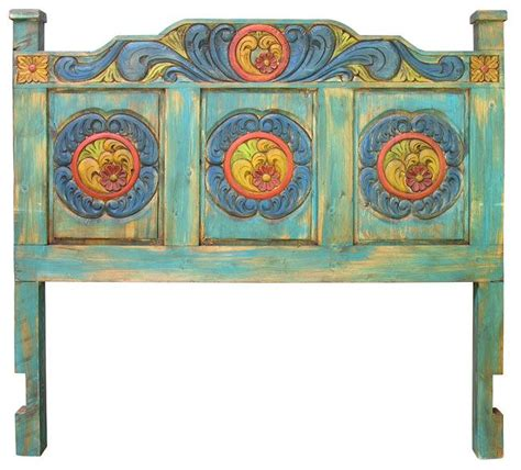 mexican headboards carved painted wood headboard ranch house decor pinterest