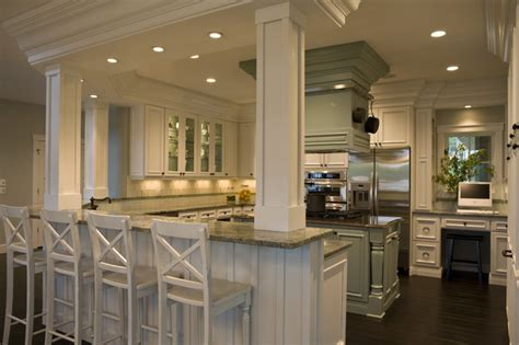 kitchen island with post 21st century bungalow traditional kitchen other by