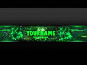 youtube banner template green psd photoshop youtube