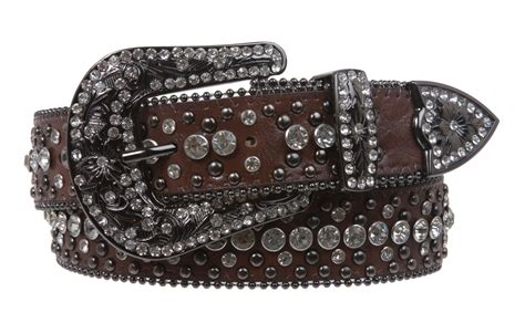 western style rhinestone leather belt