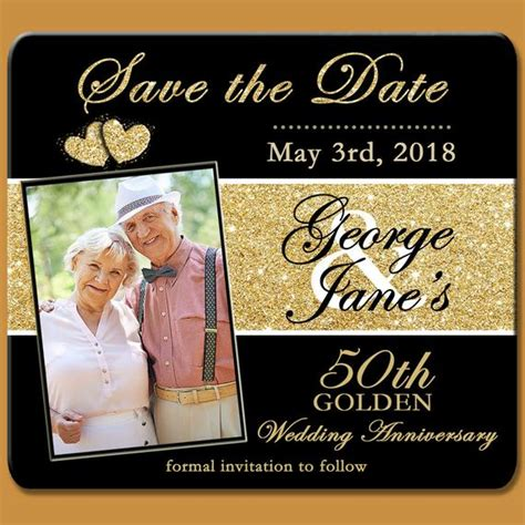 Save The Dates 50th Golden Anniversary Save The Date Magnet Save The Date Anniversary Templates