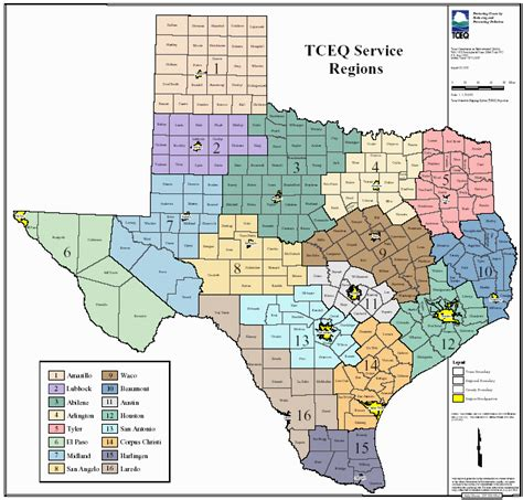 city map of texas by regions clickable region map tceq www tceq texas gov
