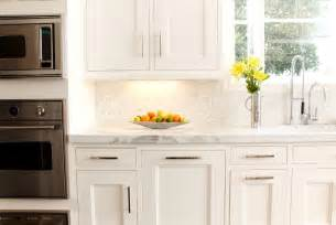 Backsplash For White Kitchen Mini Marble Backsplash Transitional Kitchen Lonni Paul Design