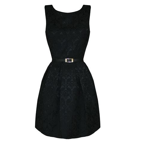 Pleted Black Dress Brokat womens new smart brocade pleated 50s 60s retro mini