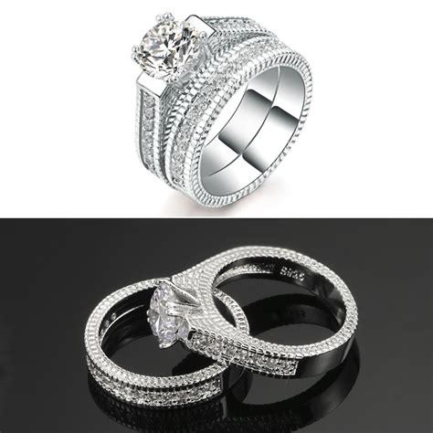 18k platinum plated cubic zirconia wedding set b s closeout