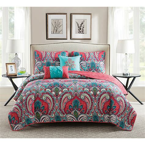 vcny casa real pink  turquoise reversible quilt set ebay