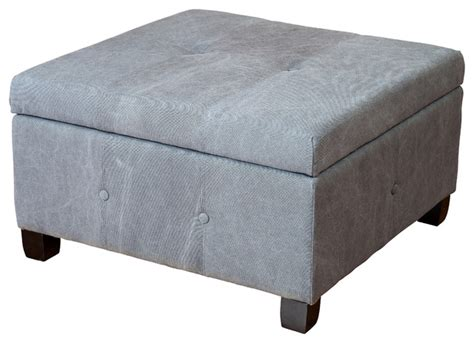 Grey Fabric Storage Ottoman Codi Storage Ottoman Coffee Table Grey Fabric Contemporary Footstools And Ottomans By