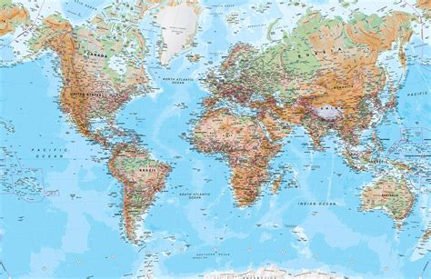 map world physical world map mural wallpaper murals wallpaper