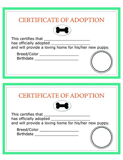 pet adoption certificate template image gallery mock adoption certificate