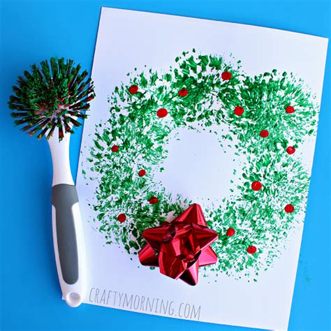 dish brush christmas wreath craft for kids crafty morning